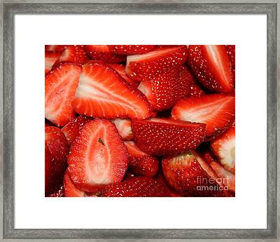 Cut Strawberries Framed Print by Carol Groenen