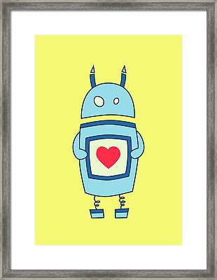 Cute Clumsy Robot With Heart Framed Print by Boriana Giormova