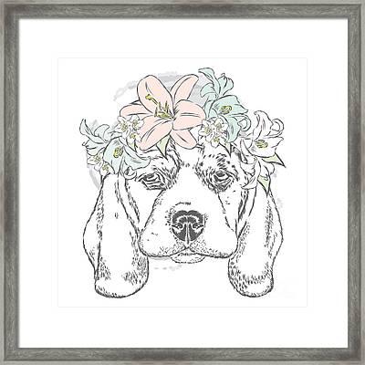 Cute Dog In A Wreath Of Roses . Vector Framed Print