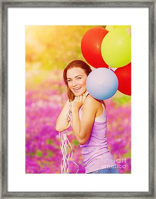 Cute Female With Balloons Framed Print by Anna Om