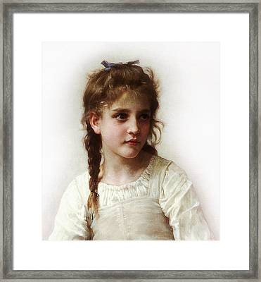 Framed Print featuring the painting Cute Little Girl by Bouguereau