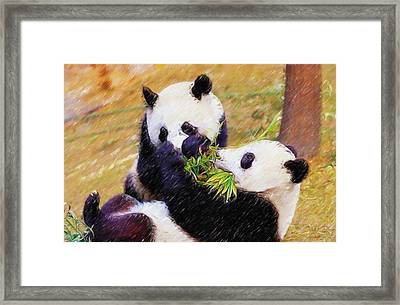 Framed Print featuring the painting Cute Pandas Play Together by Lanjee Chee