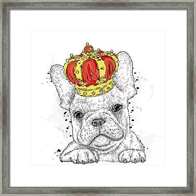 Cute Puppy Wearing A Crown. French Framed Print