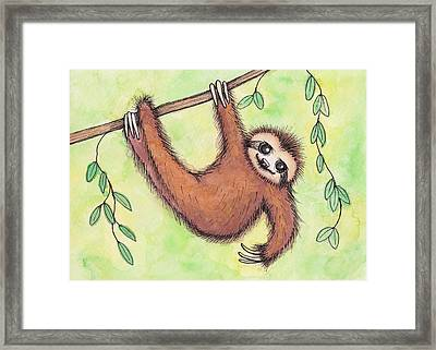 Sloth Framed Print by Melissa Rohr Gindling