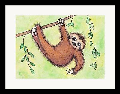 Sloth Paintings Framed Prints