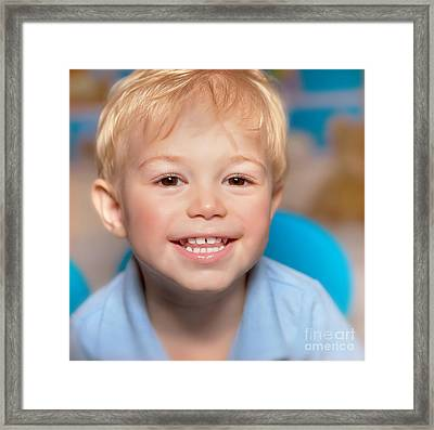 Cute Smiling Boy Framed Print
