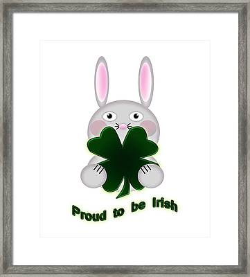 Cute St. Patricks Day Bunny Proud To Be Irish Framed Print