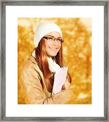 Cute Student Girl Framed Print by Anna Om