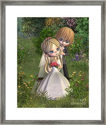 Cute Toon Wedding Couple In A Garden Framed Print