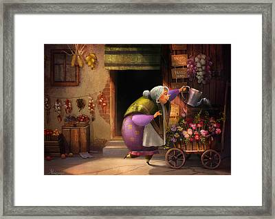 Cute Village Flower Shop Framed Print by Kristina Vardazaryan