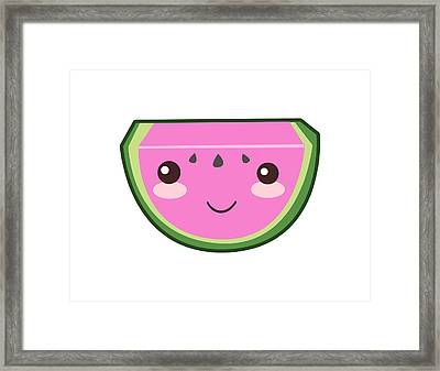 Cute Watermelon Illustration Framed Print by Pati Photography