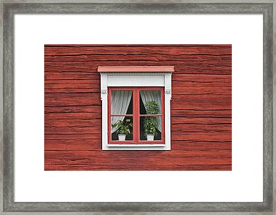 Cute Window On Red Wall Framed Print