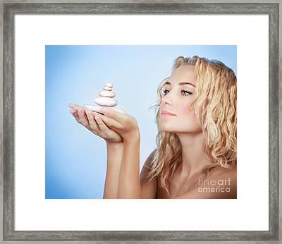 Cute Woman With Spa Stones Framed Print