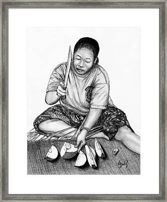 Framed Print featuring the drawing Cutting Breadfruit by Lew Davis