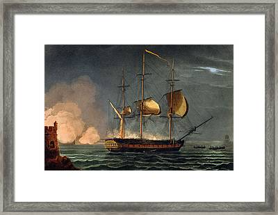 Cutting Out Of The Hermione Framed Print by Thomas Whitcombe