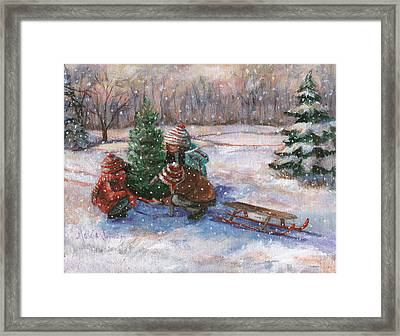 Cutting The Tree Framed Print