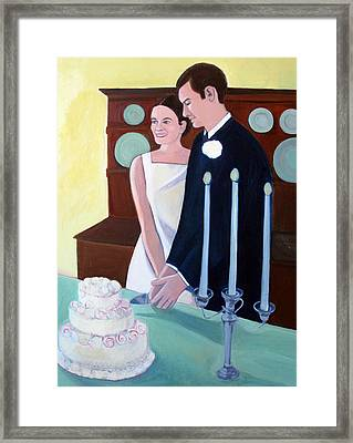 Cutting The Wedding Cake Framed Print by Toni Silber-Delerive