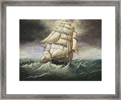 Cutty Sark Caught In A Squall Framed Print by Eric Bellis