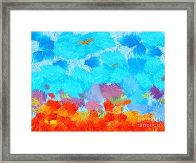 Cyan Landscape Framed Print by Pixel Chimp