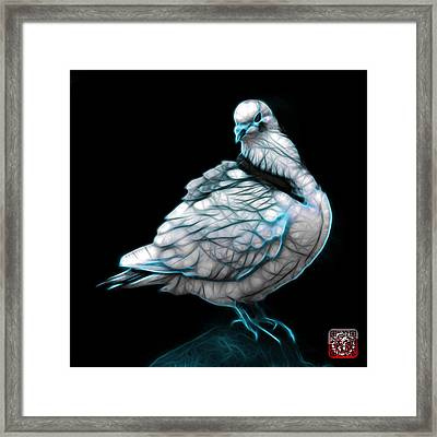 Framed Print featuring the digital art Cyan Pigeon Pop Art 5516 - Fs - Bb -  Modern Animal Artist James by James Ahn