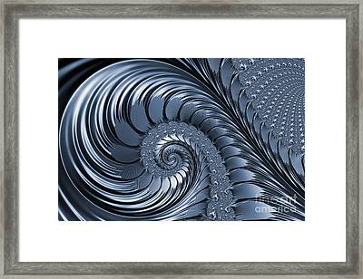 Cyan Scrolls Abstract Framed Print by John Edwards