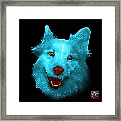 Cyan Siberian Husky Mix Dog Pop Art - 5060 Bb Framed Print by James Ahn