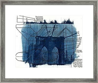 Cyanotype Brooklyn Bridge IIi Framed Print by Jane Linders