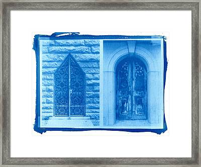 Cyanotype Crypt Doors Framed Print by Jane Linders