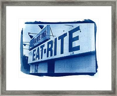 Cyanotype Eat Rite Diner Framed Print by Jane Linders