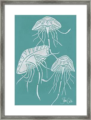 Cyanotype Jellyfish Framed Print by Shanni Welsh