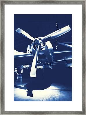 Cyanotype Vintage Airplane Framed Print