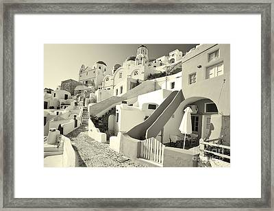 Framed Print featuring the photograph Cycladic Style Houses by Aiolos Greek Collections
