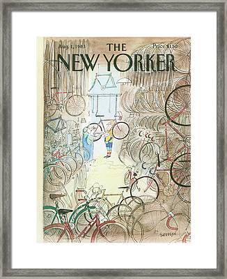 Cycle Shop Framed Print by Jean-Jacques Sempe