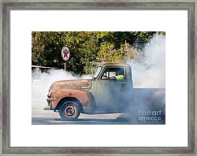 Cyclemos Rat Rod Burnout Pit  Framed Print by Wilma  Birdwell