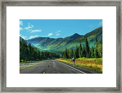 Cycling In Denali   Framed Print