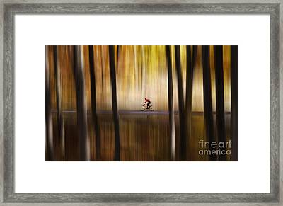 Cyclist In The Forest Framed Print