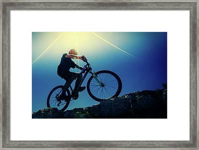 Cyclist On Bike Framed Print by Wladimir Bulgar