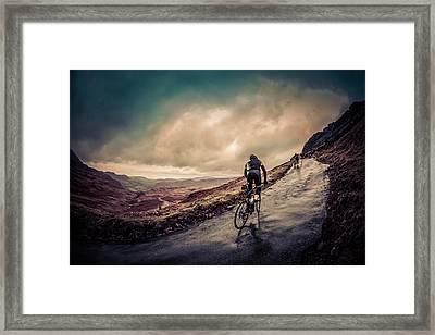 Cyclist On Hardknott Ramp Framed Print by Steve Fleming