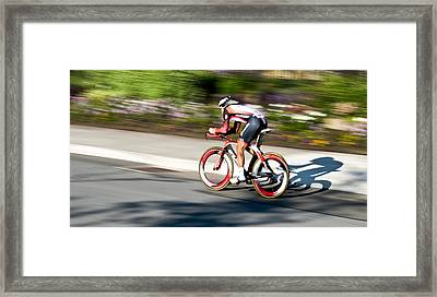 Cyclist Racing The Clock Framed Print