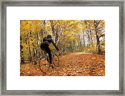 Cyclist Riding In Autumn On Humber Framed Print