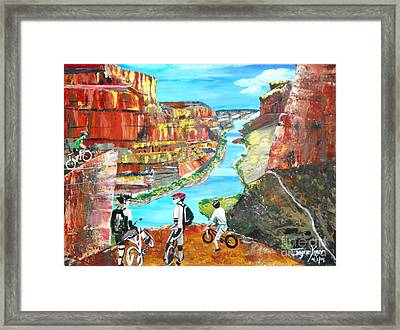 Cyclists In Grand Canyon Framed Print