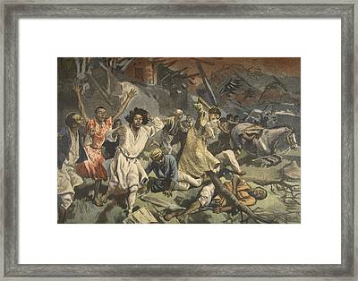 Cyclone In Mayotte, Illustration Framed Print by French School