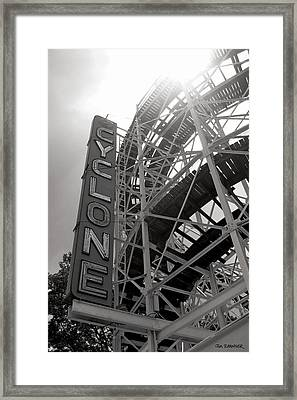 Cyclone Rollercoaster - Coney Island Framed Print by Jim Zahniser
