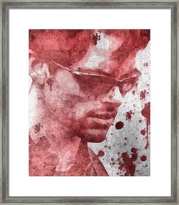 Cyclops X Men Paint Splatter Framed Print by Dan Sproul