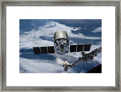Cygnus Cargo Spacecraft Docking With Iss Framed Print