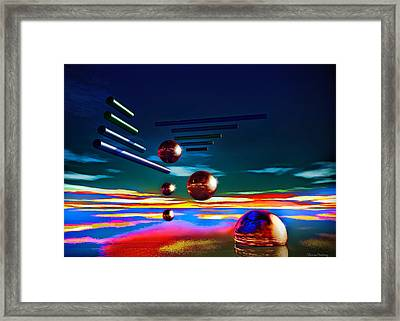 Cylinders And Spheres Framed Print by Ramon Martinez