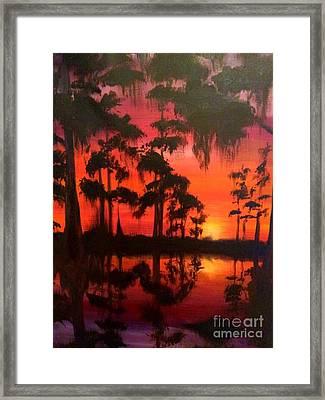 Cypress Swamp At Sunset Framed Print