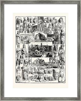 Cypriote Antiquities Discovered At The Temple Of Artemis Framed Print by English School