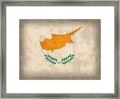 Cyprus Flag Vintage Distressed Finish Framed Print