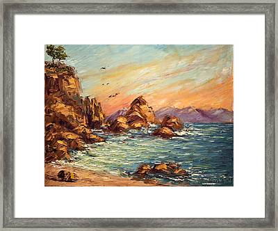 Cyprus Point Monterey Paint Along With Nancy Pbs Framed Print by    Michaelalonzo   Kominsky